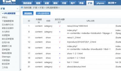 【phpcms v9】html静态化设置及URL规则优化